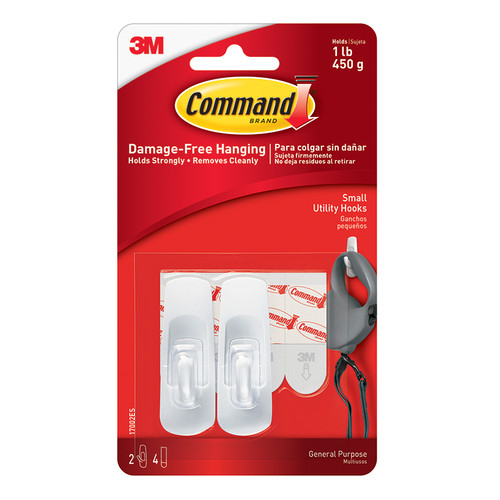 3m Company MMM17002 Command Adhesive Reusable Small Hooks Pack Of 2