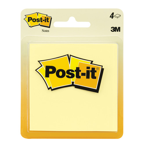 3m Company MMM5400 Post-it Notes Canary Yellow 4 Pads 50 Sheets Each