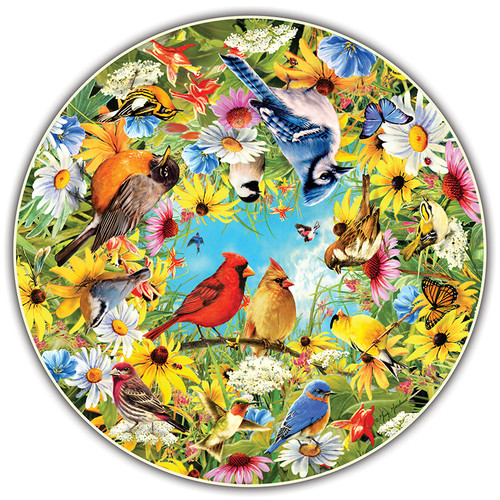 A Broader View ABW411 Backyard Birds Round Table Puzzle