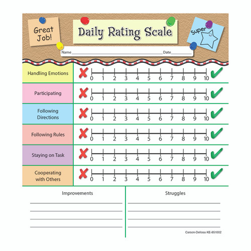 Carson Dellosa KE-851002 Daily Rating Scale Notepads Gr Pk-2