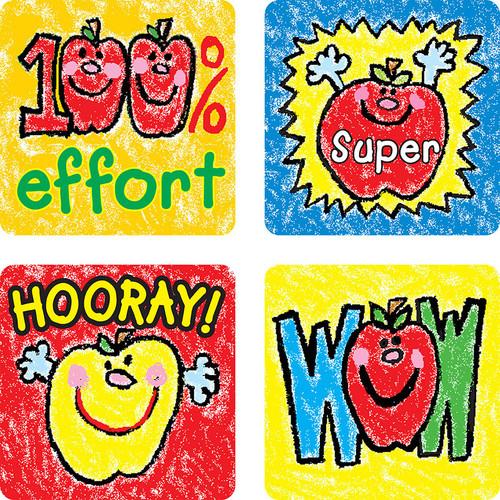 Carson Dellosa CD-0602 Stickers Apples Kid-drawn 120 / Pk Acid & Lignin Free