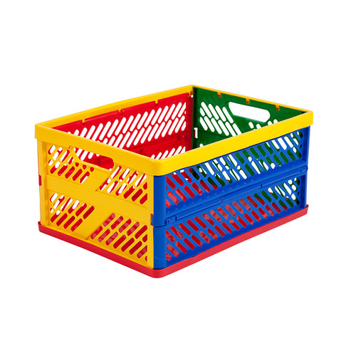 Ecr4kids, L.p. ELR0170 Collapsible Crates Ventilated Sides Large Multi-colored