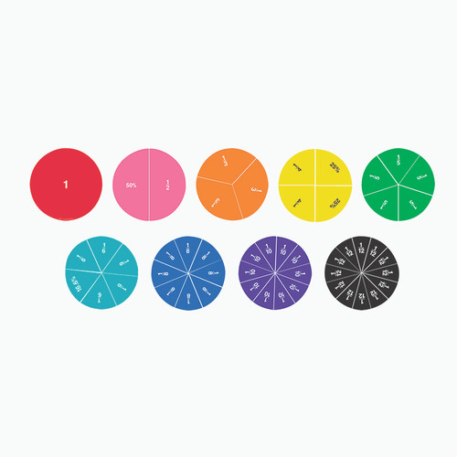 Learning Resources LER1616 Double Sided Magnetic Fraction Circles