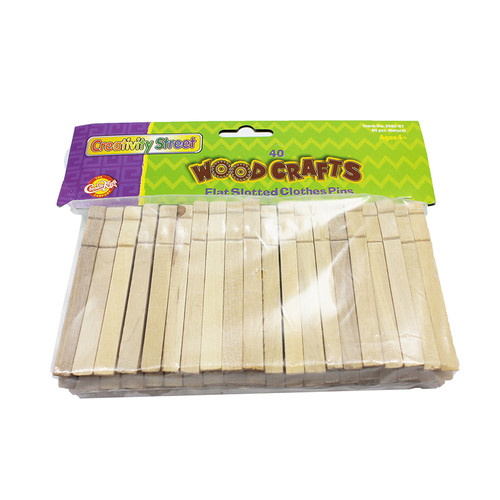 Pacon Corporation CK-368501 Wooden Flat Slotted Clothespin 40pk Natural