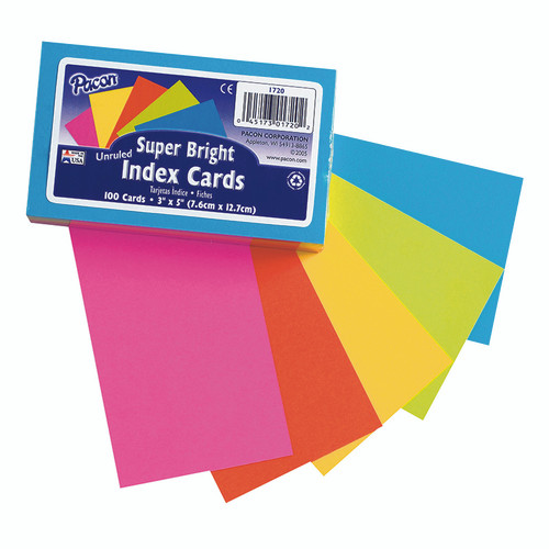 Pacon Corporation PAC1720 Super Bright Index Cards 3x5 Unrule