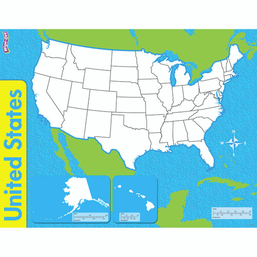 Trend Enterprises Inc. T-27301 The United States Wipe Off Map 17x22