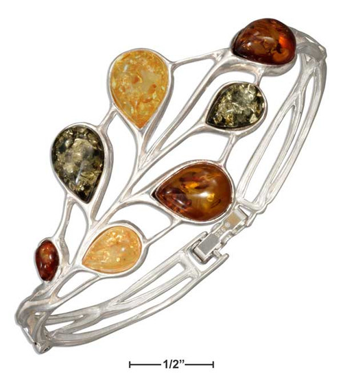 .925 Sterling Silver Green, Yellow And Honey Amber Teardrops Hinged Bracelet
