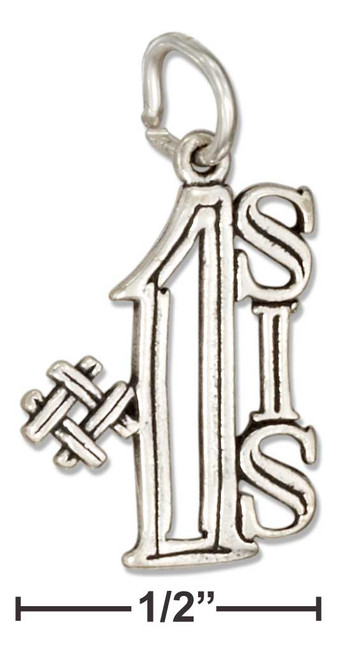 """.925 Sterling Silver """"#1 Sis"""" Message Charm"""
