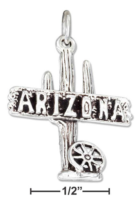 """.925 Sterling Silver """"arizona"""" Sign Charm With Cactus And Wagon Wheel"""
