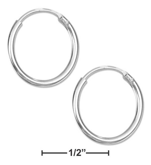 .925 Sterling Silver 14mm Endless Wire Hoop Earrings