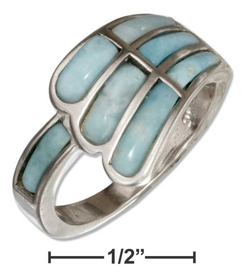 .925 Sterling Silver Angel Wing Larimar Ring