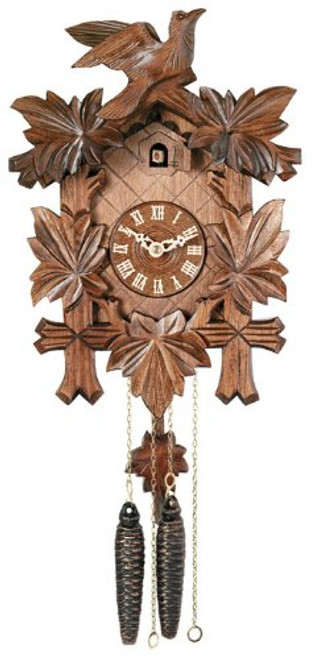 River City Clocks 11-13- One Day Hand-Carved Cuckoo Clock with Five Maple Leaves & One Bird