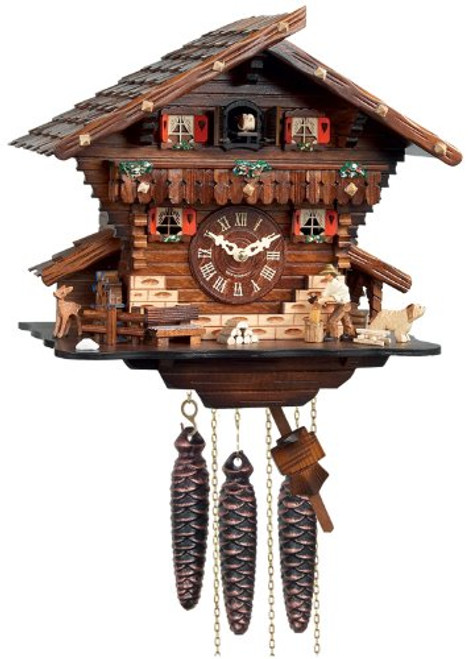 River City Clocks M448-12 One Day Musical Cuckoo Clock Cottage with Man Chopping Wood and Waterwheel