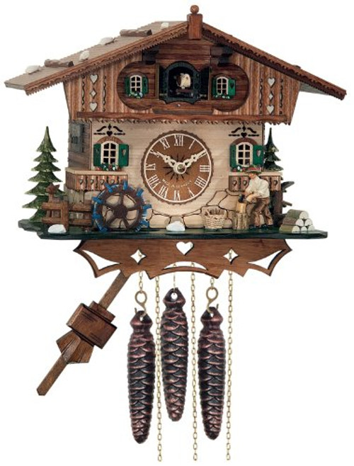 River City Clocks M466-10 One Day Musical Cottage Cuckoo Clock with Woodchopper and Waterwheel