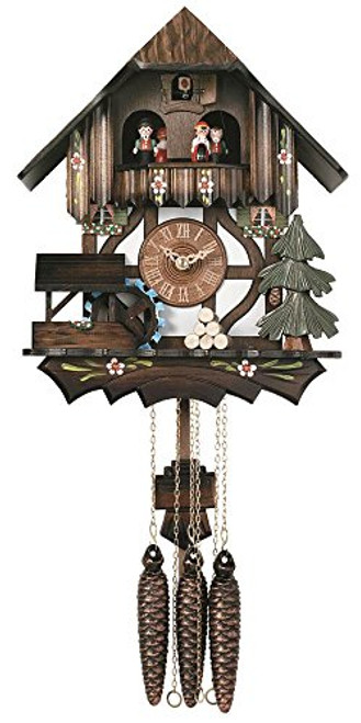 River City Clocks MD400-12P One Day Musical Cuckoo Clock Cottage with Dancers and Moving Waterwheel