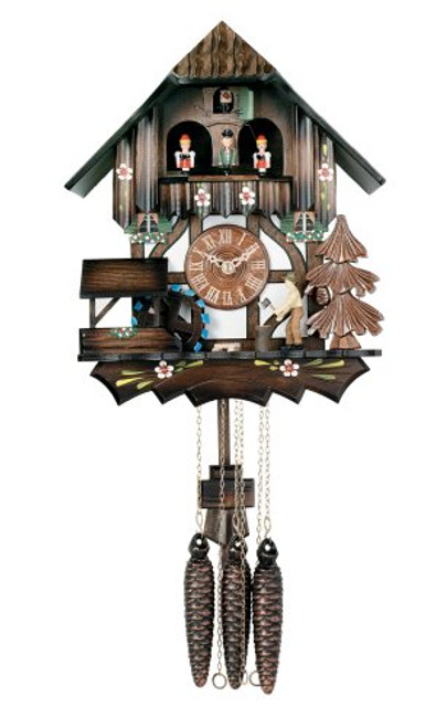 River City Clocks MD442-12P One Day Musical Cuckoo Clock Cottage with Dancers, Woodchopper, and Waterwheel