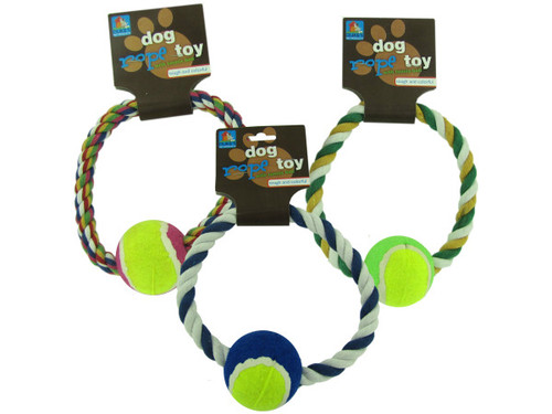 """7"""" Rope dog toy with tennis ball (assorted colors)"""