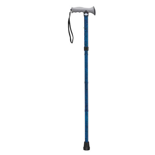 Adjustable Lightweight Folding Cane with Gel Hand Grip, Blue Crackle