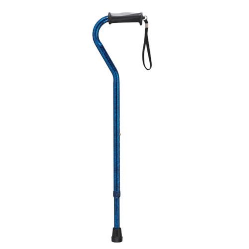 Adjustable Height Offset Handle Cane with Gel Hand Grip, Blue Crackle