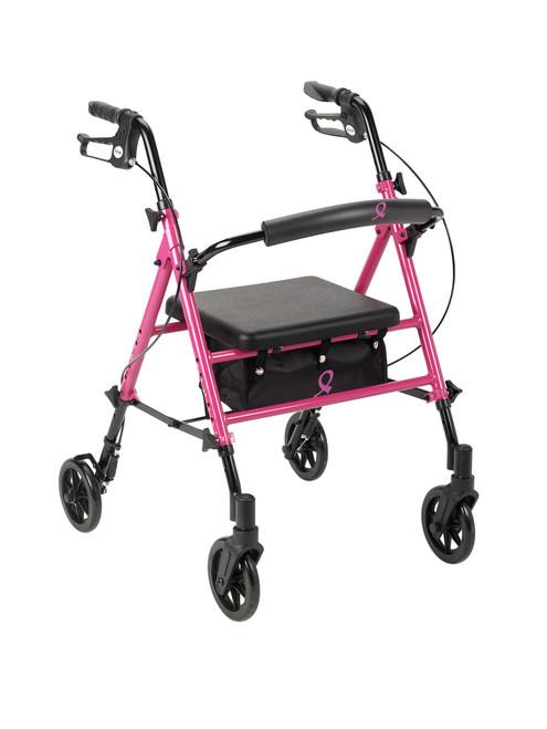 Breast Cancer Awareness Adjustable Height Rollator, Pink