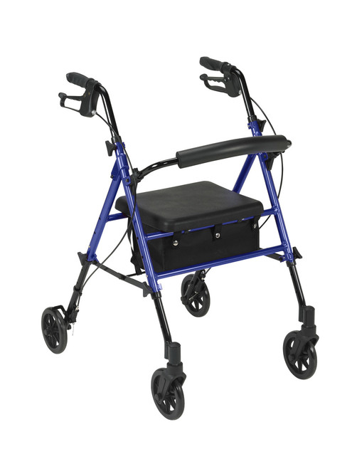 """Adjustable Height Rollator with 6"""" Wheels, Blue"""