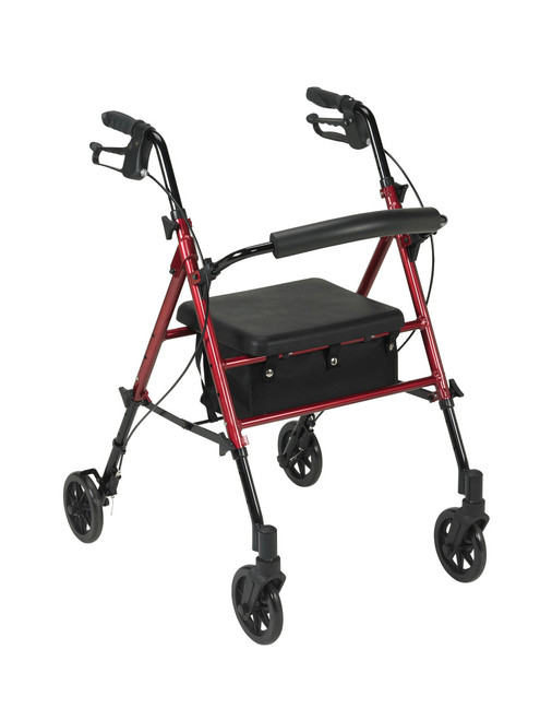 """Adjustable Height Rollator with 6"""" Wheels, Red"""