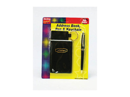 address book with pen and keychain