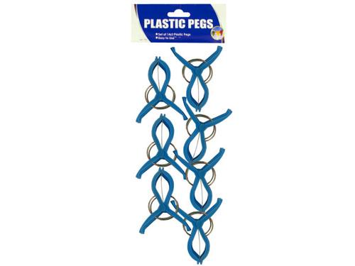 14pc blue plastic pegs