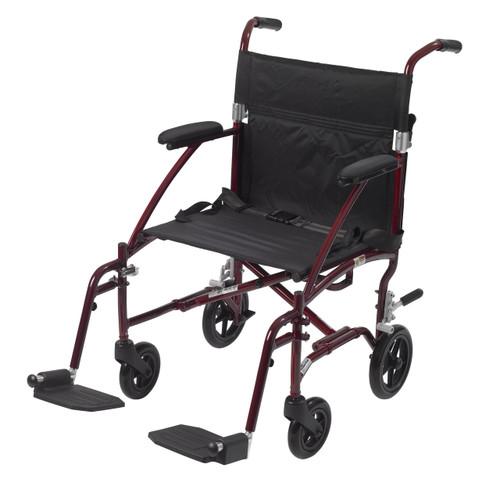 Fly Lite Ultra Lightweight Transport Wheelchair, Burgundy