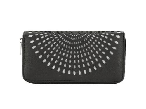 Black Fan Design Clutch Wallet