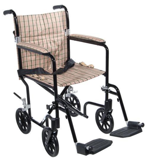 "Flyweight Lightweight Folding Transport Wheelchair, 17"", Black Frame, Tan Plaid Upholstery"