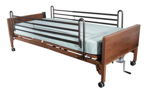 Semi Electric Hospital Bed with Full Rails and Foam Mattress