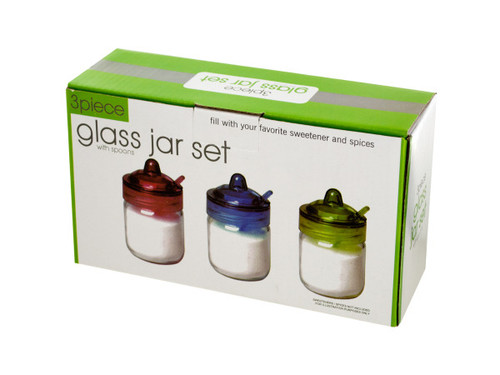 5 oz. Glass Spice Jar with Spoon Set