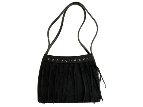 Black Faux Suede Divided Handbag with Tassels