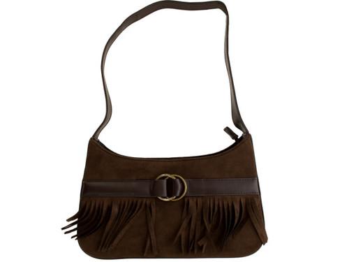 Belted Brown Faux Suede Handbag with Fringe