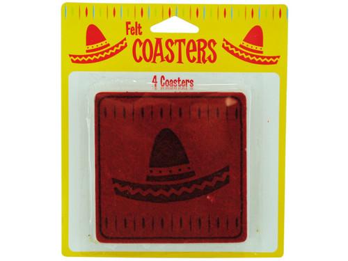 4 pack felt fiesta coasters