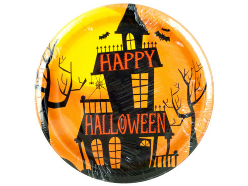 Haunted Halloween Round Party Plates Set
