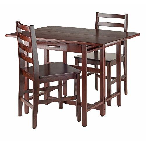 Winsome Wood Taylor 3-PC Set Drop Leaf Table W/ Ladder Back Chair