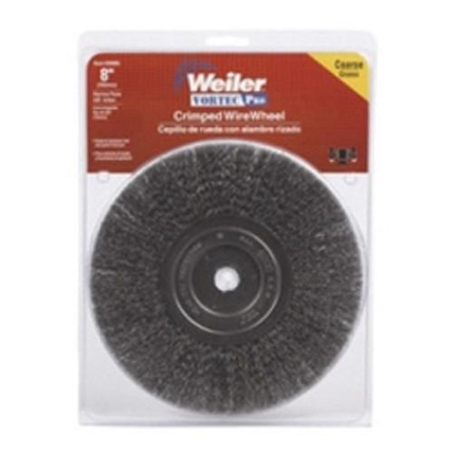 "Bench Grinder Wire Wheel, 8"" Diameter, Coarse Crimped Wire, Narrow Face, 5/8"" Arbor"