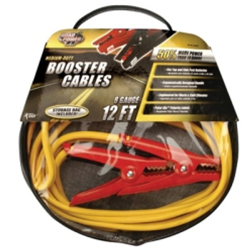 Medium Duty Battery Booster Cables, 12 Foot, 8 Gauge, with 400 Amp Clamps