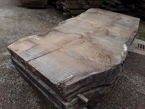 HARDWOOD AIR DRIED SAWN TIMBER WANEY EDGE / LIVE EDGE ENGLISH OAK SLAB / TABLE TOP