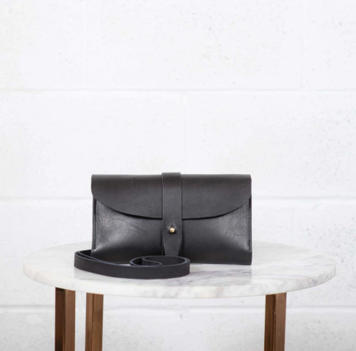The Crossbody Wallet Black Leather