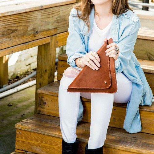 US Triangle Clutch - Brown Leather