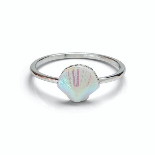 Iridescent Shell Ring Silver