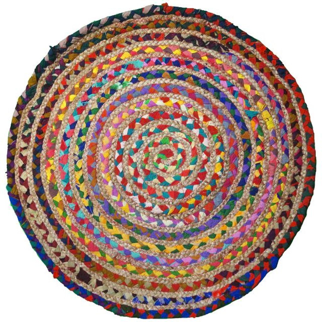 Natural Multi Coloured Recycled Braided Round Rug 50% Cotton 50% Jute - 60 cm