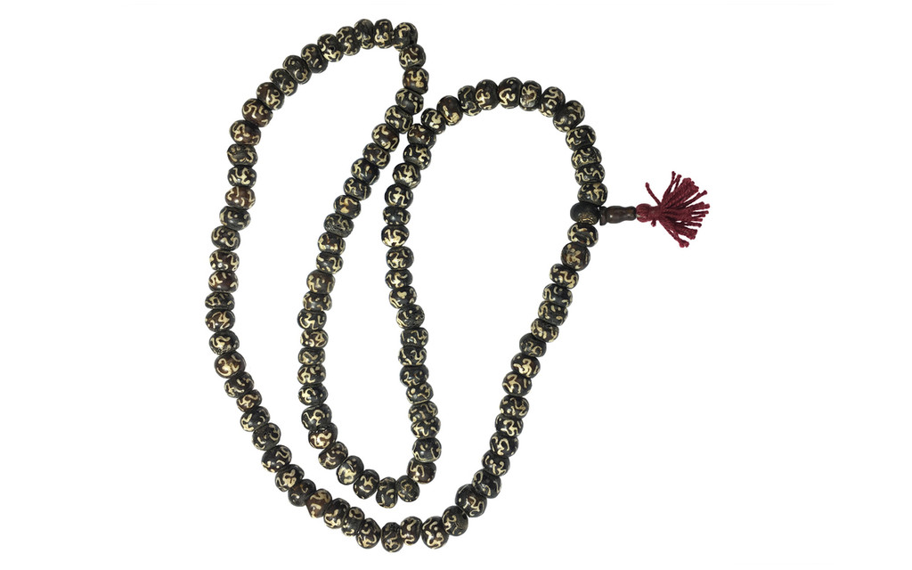 Black Bone Mala Necklace with Om Symbol