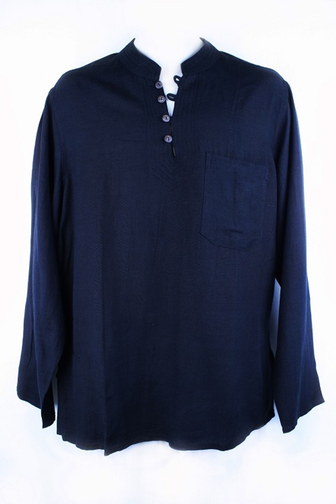 Traditional Cotton/Flax  Casual Unisex Shirt Long Sleeve