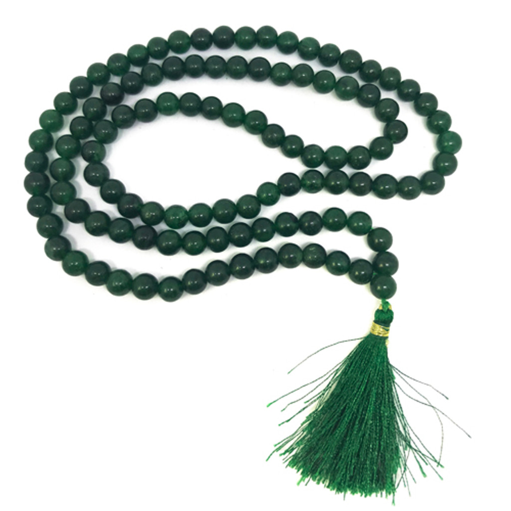 Mala Necklace Green Jade Gemstone