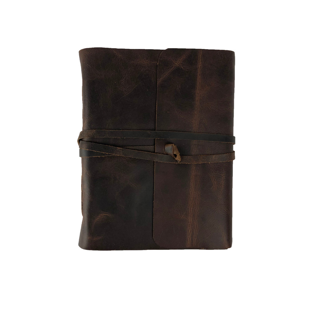 Hand Made Soft Leather Bound Book/Journal Recycled Paper Straight Flap Sm 20 x15 cm