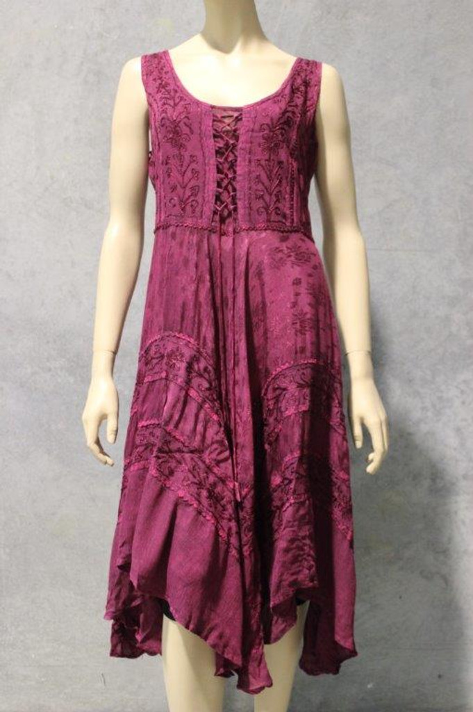 Acid Wash Lace Up Hanky dress (Summer Weight)